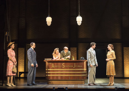"L-R: Maddie Shea Baldwin, Patrick Cummings, Kaitlyn Davidson, Jeff Blumenkrantz, A.J. Shively and Carmen Cusack in Steve Martin and Edie Brickell's ""Bright Star."" Directed by Walter Bobbie, ""Bright Star"" will be presented by Center Theatre Group at the Ahmanson Theatre through November 19, 2017. For tickets and information, please visit CenterTheatreGroup.org or call (213) 972-4400. Press Contact: CTGMedia@CTGLA.org / (213) 972-7376. Photo by Craig Schwartz."