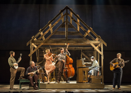 "L-R: George Guthrie, Wayne Fugate, Martha McDonnell, Skip Ward, Anthony De Angelis and Eric Davis in Steve Martin and Edie Brickell's ""Bright Star."" Directed by Walter Bobbie, ""Bright Star"" will be presented by Center Theatre Group at the Ahmanson Theatre through November 19, 2017. For tickets and information, please visit CenterTheatreGroup.org or call (213) 972-4400. Press Contact: CTGMedia@CTGLA.org / (213) 972-7376. Photo by Craig Schwartz."
