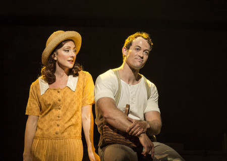 "Carmen Cusack and Patrick Cummings in Steve Martin and Edie Brickell's ""Bright Star."" Directed by Walter Bobbie, ""Bright Star"" will be presented by Center Theatre Group at the Ahmanson Theatre through November 19, 2017. For tickets and information, please visit CenterTheatreGroup.org or call (213) 972-4400. Press Contact: CTGMedia@CTGLA.org / (213) 972-7376. Photo by Craig Schwartz."
