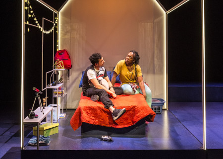 "L-R: Wade Allain-Marcus and Ngozi Anyanwu in the world premiere of ""Good Grief."" Written by Anyanwu and directed by Patricia McGregor, ""Good Grief"" plays at Center Theatre Group's Kirk Douglas Theatre through March 26, 2017. For tickets and information, please visit CenterTheatreGroup.org or call (213) 972-4400. Media Contact: CTGMedia@ctgla.org / (213) 972-7376. Photo by Craig Schwartz."
