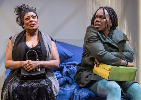 "L-R: Carla Renata and Ngozi Anyanwu in the world premiere of ""Good Grief."" Written by Anyanwu and directed by Patricia McGregor, ""Good Grief"" plays at Center Theatre Group's Kirk Douglas Theatre through March 26, 2017. For tickets and information, please visit CenterTheatreGroup.org or call (213) 972-4400. Media Contact: CTGMedia@ctgla.org / (213) 972-7376. Photo by Craig Schwartz."