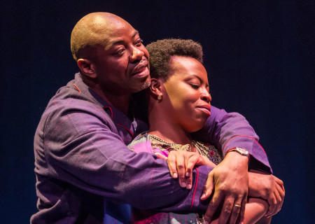 "L-R: Dayo Ade and Omozé Idehenre in the world premiere of ""Good Grief."" Written by Ngozi Anyanwu and directed by Patricia McGregor, ""Good Grief"" plays at Center Theatre Group's Kirk Douglas Theatre through March 26, 2017. For tickets and information, please visit CenterTheatreGroup.org or call (213) 972-4400. Media Contact: CTGMedia@ctgla.org / (213) 972-7376. Photo by Craig Schwartz."