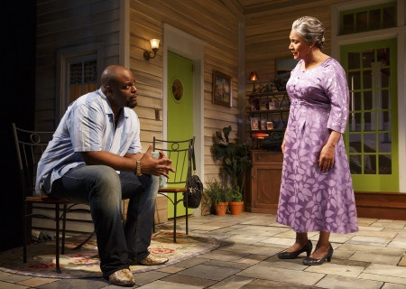 "J. Bernard Calloway and Phylicia Rashad in The Public Theater production of ""Head of Passes."" Written by Tarell Alvin McCraney and directed by Tina Landau, ""Head of Passes"" plays September 13 through October 22, 2017, as part of Center Theatre Group's 50th anniversary season at the Mark Taper Forum. For tickets and information, please visit CenterTheatreGroup.org or call (213) 628-2772. Media Contact: CTGMedia@ctgla.org / (213) 972-7376. Photo by Joan Marcus."