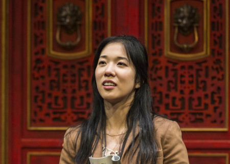 """Stephenie Soohyun Park in the world premiere production of """"King of the Yees."""" Written by Lauren Yee, directed by Joshua Kahan Brody and produced in association with Goodman Theatre, """"King of the Yees"""" plays through August 6, 2017, at Center Theatre Group's Kirk Douglas Theatre. For tickets and information, please visit CenterTheatreGroup.org or call (213) 628-2772. Media Contact: CTGMedia@ctgla.org / (213) 972-7376. Photo by Craig Schwartz."""
