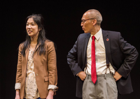 "Stephenie Soohyun Park and Francis Jue in the world premiere production of ""King of the Yees."" Written by Lauren Yee, directed by Joshua Kahan Brody and produced in association with Goodman Theatre, ""King of the Yees"" plays through August 6, 2017, at Center Theatre Group's Kirk Douglas Theatre. For tickets and information, please visit CenterTheatreGroup.org or call (213) 628-2772. Media Contact: CTGMedia@ctgla.org / (213) 972-7376. Photo by Craig Schwartz."