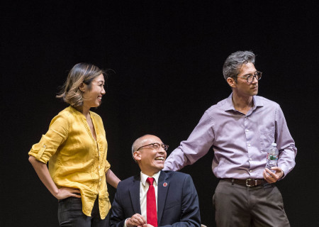 "L-R: Angela Lin, Francis Jue and Daniel Smith in the world premiere production of ""King of the Yees."" Written by Lauren Yee, directed by Joshua Kahan Brody and produced in association with Goodman Theatre, ""King of the Yees"" plays through August 6, 2017, at Center Theatre Group's Kirk Douglas Theatre. For tickets and information, please visit CenterTheatreGroup.org or call (213) 628-2772. Media Contact: CTGMedia@ctgla.org / (213) 972-7376. Photo by Craig Schwartz."