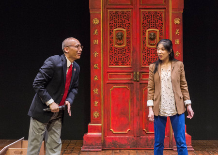 "Francis Jue and Stephenie Soohyun Park in the world premiere production of ""King of the Yees."" Written by Lauren Yee, directed by Joshua Kahan Brody and produced in association with Goodman Theatre, ""King of the Yees"" plays through August 6, 2017, at Center Theatre Group's Kirk Douglas Theatre. For tickets and information, please visit CenterTheatreGroup.org or call (213) 628-2772. Media Contact: CTGMedia@ctgla.org / (213) 972-7376. Photo by Craig Schwartz."