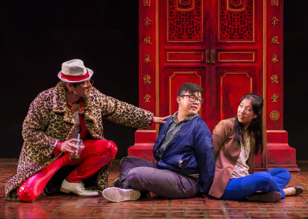 "L-R: Daniel Smith, Rammel Chan and Stephenie Soohyun Park in the world premiere production of ""King of the Yees."" Written by Lauren Yee, directed by Joshua Kahan Brody and produced in association with Goodman Theatre, ""King of the Yees"" plays through August 6, 2017, at Center Theatre Group's Kirk Douglas Theatre. For tickets and information, please visit CenterTheatreGroup.org or call (213) 628-2772. Media Contact: CTGMedia@ctgla.org / (213) 972-7376. Photo by Craig Schwartz."