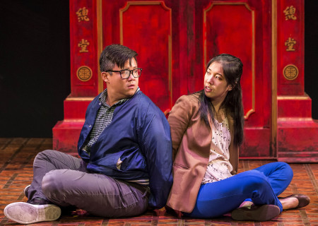"Rammel Chan and Stephenie Soohyun Park in the world premiere production of ""King of the Yees."" Written by Lauren Yee, directed by Joshua Kahan Brody and produced in association with Goodman Theatre, ""King of the Yees"" plays through August 6, 2017, at Center Theatre Group's Kirk Douglas Theatre. For tickets and information, please visit CenterTheatreGroup.org or call (213) 628-2772. Media Contact: CTGMedia@ctgla.org / (213) 972-7376. Photo by Craig Schwartz."