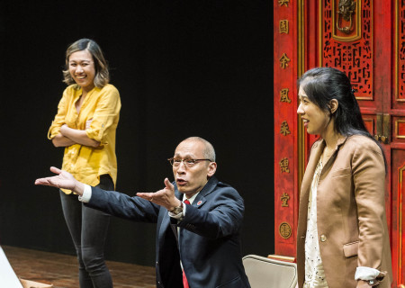 "L-R: Angela Lin, Francis Jue and Stephenie Soohyun Park in the world premiere production of ""King of the Yees."" Written by Lauren Yee, directed by Joshua Kahan Brody and produced in association with Goodman Theatre, ""King of the Yees"" plays through August 6, 2017, at Center Theatre Group's Kirk Douglas Theatre. For tickets and information, please visit CenterTheatreGroup.org or call (213) 628-2772. Media Contact: CTGMedia@ctgla.org / (213) 972-7376. Photo by Craig Schwartz."