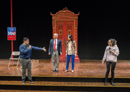 "L-R: Rammel Chan, Francis Jue, Stephenie Soohyun Park and Angela Lin in the world premiere production of ""King of the Yees."" Written by Lauren Yee, directed by Joshua Kahan Brody and produced in association with Goodman Theatre, ""King of the Yees"" plays through August 6, 2017, at Center Theatre Group's Kirk Douglas Theatre. For tickets and information, please visit CenterTheatreGroup.org or call (213) 628-2772. Media Contact: CTGMedia@ctgla.org / (213) 972-7376. Photo by Craig Schwartz."