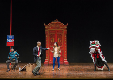 "L-R: Daniel Smith, Francis Jue and Stephenie Soohyun Park in the world premiere production of ""King of the Yees."" Written by Lauren Yee, directed by Joshua Kahan Brody and produced in association with Goodman Theatre, ""King of the Yees"" plays through August 6, 2017, at Center Theatre Group's Kirk Douglas Theatre. For tickets and information, please visit CenterTheatreGroup.org or call (213) 628-2772. Media Contact: CTGMedia@ctgla.org / (213) 972-7376. Photo by Craig Schwartz."
