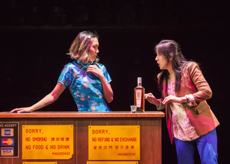 "L-R: Angela Lin and Stephenie Soohyun Park in the world premiere production of ""King of the Yees."" Written by Lauren Yee, directed by Joshua Kahan Brody and produced in association with Goodman Theatre, ""King of the Yees"" plays through August 6, 2017, at Center Theatre Group's Kirk Douglas Theatre. For tickets and information, please visit CenterTheatreGroup.org or call (213) 628-2772. Media Contact: CTGMedia@ctgla.org / (213) 972-7376. Photo by Craig Schwartz."