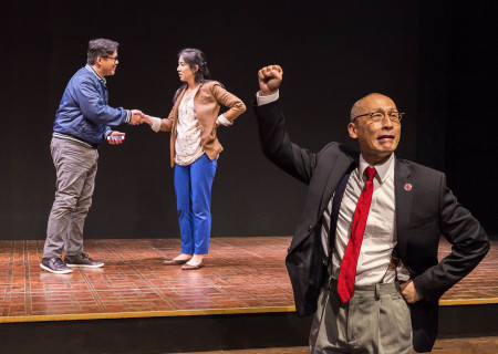 "L-R: Rammel Chan, Stephenie Soohyun Park and Francis Jue in the world premiere production of ""King of the Yees."" Written by Lauren Yee, directed by Joshua Kahan Brody and produced in association with Goodman Theatre, ""King of the Yees"" plays through August 6, 2017, at Center Theatre Group's Kirk Douglas Theatre. For tickets and information, please visit CenterTheatreGroup.org or call (213) 628-2772. Media Contact: CTGMedia@ctgla.org / (213) 972-7376. Photo by Craig Schwartz."