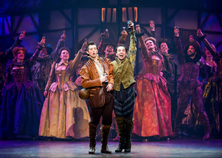 "L-R: Josh Grisetti and Rob McClure with the cast of ""Something Rotten!"" which plays at the Ahmanson Theatre November 21 through December 31, 2017. For tickets and information, please visit CenterTheatreGroup.org or call (213) 972-4400. Press Contact: CTGMedia@CTGLA.org / (213) 972-7376. Photo by Jeremy Daniel."