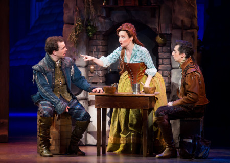 "L-R: Rob McClure, Maggie Lakis and Josh Grisetti in ""Something Rotten!"" which plays at the Ahmanson Theatre November 21 through December 31, 2017. For tickets and information, please visit CenterTheatreGroup.org or call (213) 972-4400. Press Contact: CTGMedia@CTGLA.org / (213) 972-7376. Photo by Jeremy Daniel."