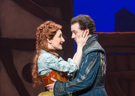 "Maggie Lakis and Rob McClure in ""Something Rotten!"" which plays at the Ahmanson Theatre November 21 through December 31, 2017. For tickets and information, please visit CenterTheatreGroup.org or call (213) 972-4400. Press Contact: CTGMedia@CTGLA.org / (213) 972-7376. Photo by Jeremy Daniel."