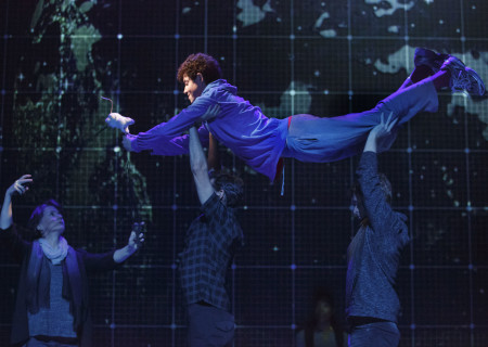 "Adam Langdon as Christopher Boone (top center) with the cast of the touring production of ""The Curious Incident of the Dog in the Night-Time,"" which will be presented by Center Theatre Group at the Ahmanson Theatre August 2 through September 10, 2017. For tickets and information, please visit CenterTheatreGroup.org or call (213) 972-4400. Media Contact: CTGMedia@CTGLA.org / (213) 972-7376. Photo by Joan Marcus."