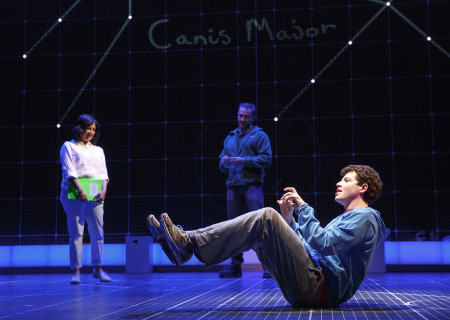 "L-R: Maria Elena Ramirez as Siobhan, Gene Gillette as Ed (rear) and Adam Langdon as Christopher Boone in the touring production of ""The Curious Incident of the Dog in the Night-Time,"" which will be presented by Center Theatre Group at the Ahmanson Theatre August 2 through September 10, 2017. For tickets and information, please visit CenterTheatreGroup.org or call (213) 972-4400. Media Contact: CTGMedia@CTGLA.org / (213) 972-7376. Photo by Joan Marcus."