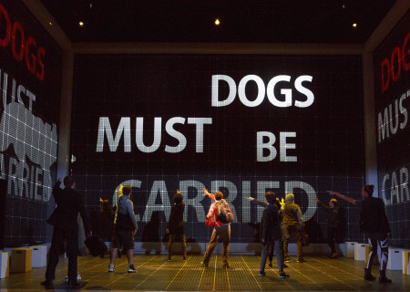 "Adam Langdon as Christopher Boone (center) with the cast of the touring production of ""The Curious Incident of the Dog in the Night-Time,"" which will be presented by Center Theatre Group at the Ahmanson Theatre August 2 through September 10, 2017. For tickets and information, please visit CenterTheatreGroup.org or call (213) 972-4400. Media Contact: CTGMedia@CTGLA.org / (213) 972-7376. Photo by Joan Marcus."