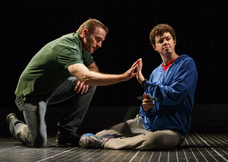 "L-R: Gene Gillette as Ed and Adam Langdon as Christopher Boone in the touring production of ""The Curious Incident of the Dog in the Night-Time,"" which will be presented by Center Theatre Group at the Ahmanson Theatre August 2 through September 10, 2017. For tickets and information, please visit CenterTheatreGroup.org or call (213) 972-4400. Media Contact: CTGMedia@CTGLA.org / (213) 972-7376. Photo by Joan Marcus."