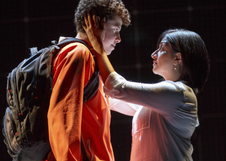 "Adam Langdon as Christopher Boone and Maria Elena Ramirez as Siobhan in the touring production of ""The Curious Incident of the Dog in the Night-Time,"" which will be presented by Center Theatre Group at the Ahmanson Theatre August 2 through September 10, 2017. For tickets and information, please visit CenterTheatreGroup.org or call (213) 972-4400. Media Contact: CTGMedia@CTGLA.org / (213) 972-7376. Photo by Joan Marcus."