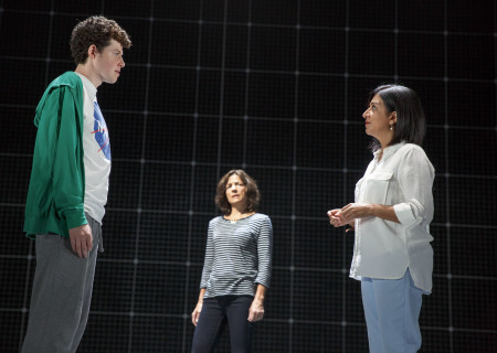 "L-R: Adam Langdon as Christopher Boone, Felicity Jones Latta as Judy and Maria Elena Ramirez as Siobhan in the touring production of ""The Curious Incident of the Dog in the Night-Time,"" which will be presented by Center Theatre Group at the Ahmanson Theatre August 2 through September 10, 2017. For tickets and information, please visit CenterTheatreGroup.org or call (213) 972-4400. Media Contact: CTGMedia@CTGLA.org / (213) 972-7376. Photo by Joan Marcus."