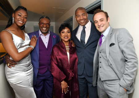 (L-R) Actors Aryana Williams, Keith David, Phylicia Rashad, Paul Oakley Stovall and Charlie Hofheimer at the Center Theatre Group 50th Anniversary Celebration at Ahmanson Theatre on May 20, 2017 in Los Angeles, California.