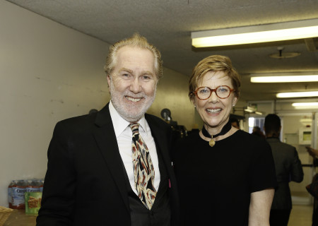 From left, actors Harry Groener and Annette Bening backstage during Center Theatre Group's 50th Anniversary Celebration at the Ahmanson Theatre on Saturday, May 20, 2017, in Los Angeles, California.