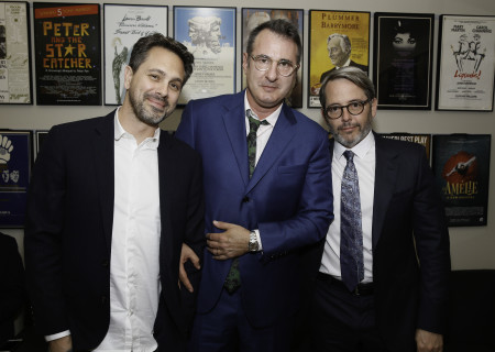 From left, actor Thomas Sadoski, playwright Jon Robin Baitz and actor Matthew Broderick backstage during Center Theatre Group's 50th Anniversary Celebration at the Ahmanson Theatre on Saturday, May 20, 2017, in Los Angeles, California.