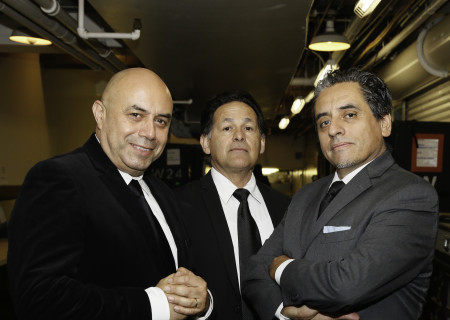 From left, actors Herbert Siguenza, Ric Salinas and Richard Montoya backstage during Center Theatre Group's 50th Anniversary Celebration at the Ahmanson Theatre on Saturday, May 20, 2017, in Los Angeles, California.
