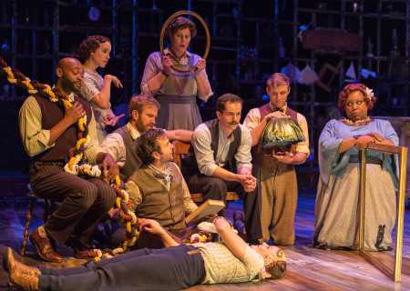 "L-R: Theo Perkins, Cristina Gerla, Denver Milord, Joe Calarco, Gina Torrecilla, Kurt Quinn, Kristina Johnson (lying down), Brandon Ruiter and Brittney S. Wheeler in the Coeurage Theatre production of ""Failure: A Love Story"" at the Kirk Douglas Theatre. Written by Philip Dawkins and directed by Michael Matthews, ""Failure"" is part of Center Theatre Group's Block Party and will play April 14 - 23, 2017, at the Kirk Douglas Theatre. For tickets and information, please visit CenterTheatreGroup.org or call (213) 628-2772. Media Contact: CTGMedia@CTGLA.org / (213) 972-7376. Photo by Craig Schwartz."