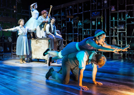 "L-R (foreground): Nicole Shalhoub and Denver Milord, (background): Gina Torrecilla, Cristina Gerla, Brittney S. Wheeler and Kurt Quinn in the Coeurage Theatre production of ""Failure: A Love Story"" at the Kirk Douglas Theatre. Written by Philip Dawkins and directed by Michael Matthews, ""Failure"" is part of Center Theatre Group's Block Party and will play April 14 - 23, 2017, at the Kirk Douglas Theatre. For tickets and information, please visit CenterTheatreGroup.org or call (213) 628-2772. Media Contact: CTGMedia@CTGLA.org / (213) 972-7376. Photo by Craig Schwartz."