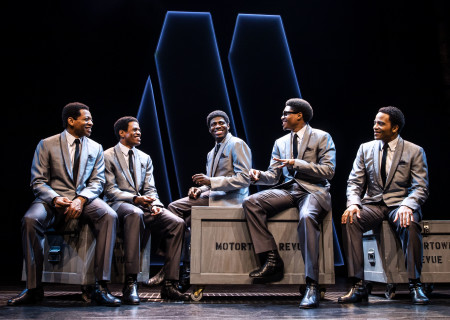 "L-R: Derrick Baskin, Jeremy Pope, Jawan M. Jackson, Ephraim Sykes and James Harkness in ""Ain't Too Proud,"" which is being presented by Center Theatre Group at the Ahmanson Theatre through September 30. Press Contact: CTGMedia@CTGLA.org / (213) 972-7376. Photo by Matthew Murphy."