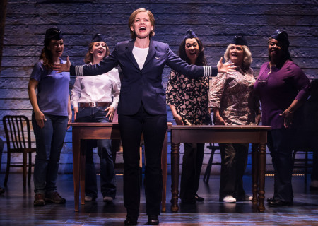 "L-R: Megan McGinnis, Emily Walton, Becky Gulsvig, Christine Toy Johnson, Julie Johnson and Danielle K. Thomas in the First North American Tour of ""Come From Away."" With a book, music and lyrics by Tony and Grammy Award nominees Irene Sankoff and David Hein and direction by Christopher Ashley, ""Come From Away runs November 28, 2018 through January 6, 2019 at Center Theatre Group/Ahmanson Theatre in Los Angeles, CA. For tickets and information, please visit CenterTheatreGroup.org or call (213) 972-4400. Media Contact: CTGMedia@CTGLA.org / (213) 972-7376. Photo by Matthew Murphy."