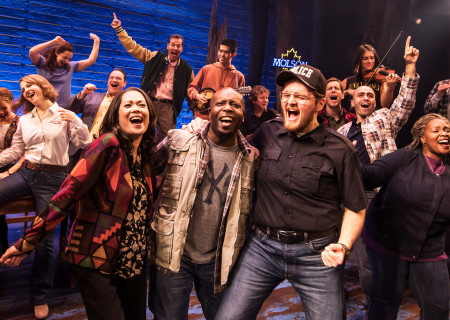 "The Company of the First North American Tour of ""Come From Away."" With a book, music and lyrics by Tony and Grammy Award nominees Irene Sankoff and David Hein and direction by Christopher Ashley, ""Come From Away runs November 28, 2018 through January 6, 2019 at Center Theatre Group/Ahmanson Theatre in Los Angeles, CA. For tickets and information, please visit CenterTheatreGroup.org or call (213) 972-4400. Media Contact: CTGMedia@CTGLA.org / (213) 972-7376. Photo by Matthew Murphy."