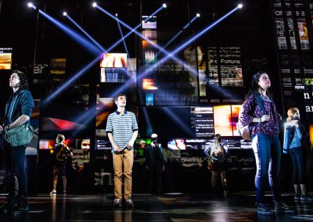 "Ben Levi Ross as 'Evan Hansen' and the Company of the First North American Tour of ""Dear Evan Hansen."" With a book by Steven Levenson, music and lyrics by Benj Pasek and Justin Paul and direction by Michael Greif, ""Dear Evan Hansen"" runs October 17 through November 25, 2018 at Center Theatre Group/Ahmanson Theatre in Los Angeles, CA. For tickets and information, please visit CenterTheatreGroup.org or call (213) 972-4400. Media Contact: CTGMedia@CTGLA.org / (213) 972-7376. Photo by Matthew Murphy."