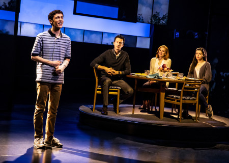 "L-R: Ben Levi Ross as 'Evan Hansen,' Aaron Lazar as 'Larry Murphy,' Christiane Noll as 'Cynthia Murphy' and Maggie McKenna as 'Zoe Murphy' in the First North American Tour of ""Dear Evan Hansen."" With a book by Steven Levenson, music and lyrics by Benj Pasek and Justin Paul and direction by Michael Greif, ""Dear Evan Hansen"" runs October 17 through November 25, 2018 at Center Theatre Group/Ahmanson Theatre in Los Angeles, CA. For tickets and information, please visit CenterTheatreGroup.org or call (213) 972-4400. Media Contact: CTGMedia@CTGLA.org / (213) 972-7376. Photo by Matthew Murphy."
