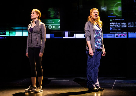 "L-R: Christiane Noll as 'Cynthia Murphy' and Jessica Phillips as 'Heidi Hansen' in the First North American Tour of ""Dear Evan Hansen."" With a book by Steven Levenson, music and lyrics by Benj Pasek and Justin Paul and direction by Michael Greif, ""Dear Evan Hansen"" runs October 17 through November 25, 2018 at Center Theatre Group/Ahmanson Theatre in Los Angeles, CA. For tickets and information, please visit CenterTheatreGroup.org or call (213) 972-4400. Media Contact: CTGMedia@CTGLA.org / (213) 972-7376. Photo by Matthew Murphy."