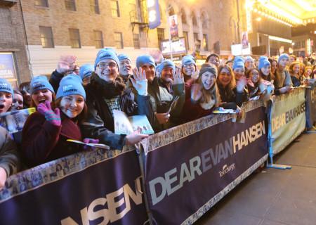 "Fans line up outside the Music Box Theatre in New York City for ""Dear Evan Hansen"" Fan Day on Broadway. Photo courtesy of ""Dear Evan Hansen."""