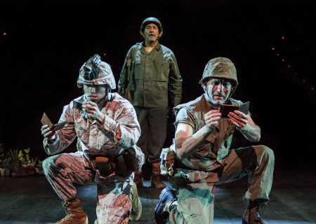 "L-R: Peter Mendoza, Rubén Garfias and Jason Manuel Olazábal in ""Elliot, A Soldier's Fugue"" at Center Theatre Group's Kirk Douglas Theatre. Directed by Shishir Kurup and written by Quiara Alegría Hudes, ""Elliot, A Soldier's Fugue"" will play through February 25, 2018. For tickets and information, please visit CenterTheatreGroup.org or call (213) 628-2772. Media Contact: CTGMedia@CTGLA.org / (213) 972-7376. Photo by Craig Schwartz."