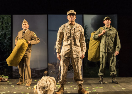 "L-R: Rubén Garfias, Peter Mendoza and Jason Manuel Olazábal in ""Elliot, A Soldier's Fugue"" at Center Theatre Group's Kirk Douglas Theatre. Directed by Shishir Kurup and written by Quiara Alegría Hudes, ""Elliot, A Soldier's Fugue"" will play through February 25, 2018. For tickets and information, please visit CenterTheatreGroup.org or call (213) 628-2772. Media Contact: CTGMedia@CTGLA.org / (213) 972-7376. Photo by Craig Schwartz."