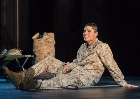 "Peter Mendoza in ""Elliot, A Soldier's Fugue"" at Center Theatre Group's Kirk Douglas Theatre. Directed by Shishir Kurup and written by Quiara Alegría Hudes, ""Elliot, A Soldier's Fugue"" will play through February 25, 2018. For tickets and information, please visit CenterTheatreGroup.org or call (213) 628-2772. Media Contact: CTGMedia@CTGLA.org / (213) 972-7376. Photo by Craig Schwartz."