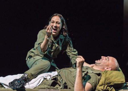 "Caro Zeller and Jason Manuel Olazábal in ""Elliot, A Soldier's Fugue"" at Center Theatre Group's Kirk Douglas Theatre. Directed by Shishir Kurup and written by Quiara Alegría Hudes, ""Elliot, A Soldier's Fugue"" will play through February 25, 2018. For tickets and information, please visit CenterTheatreGroup.org or call (213) 628-2772. Media Contact: CTGMedia@CTGLA.org / (213) 972-7376. Photo by Craig Schwartz."