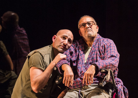 "L-R: Jason Manuel Olazábal and Rubén Garfias in ""Elliot, A Soldier's Fugue"" at Center Theatre Group's Kirk Douglas Theatre. Directed by Shishir Kurup and written by Quiara Alegría Hudes, ""Elliot, A Soldier's Fugue"" will play through February 25, 2018. For tickets and information, please visit CenterTheatreGroup.org or call (213) 628-2772. Media Contact: CTGMedia@CTGLA.org / (213) 972-7376. Photo by Craig Schwartz."