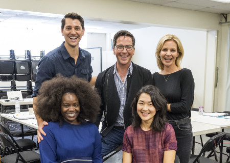 """L-R: (front row) Shoniqua Shandai, Jackie Chung, (back row) Nicholas D'Agosto, Dan Bucatinsky and Jessalyn Gilsig at the first rehearsal for the world premiere of """"Quack."""" Written by Eliza Clark and directed by Neel Keller, """"Quack"""" will play at Center Theatre Group's Kirk Douglas Theatre October 21 through November 18, 2018. For tickets and information, please visit CenterTheatreGroup.org or call (213) 628-2772. Media Contact: CTGMedia@CTGLA.org / (213) 972-7376. Photo by Craig Schwartz."""