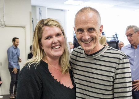 """Playwright Eliza Clark and director Neel Keller at the first rehearsal for the world premiere of """"Quack,"""" which will play at Center Theatre Group's Kirk Douglas Theatre October 21 through November 18, 2018. For tickets and information, please visit CenterTheatreGroup.org or call (213) 628-2772. Media Contact: CTGMedia@CTGLA.org / (213) 972-7376. Photo by Craig Schwartz."""