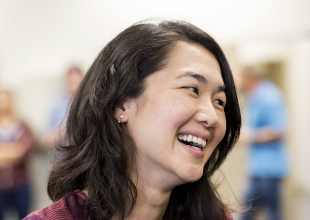 """Jackie Chung at the first rehearsal for the world premiere of """"Quack."""" Written by Eliza Clark and directed by Neel Keller, """"Quack"""" will play at Center Theatre Group's Kirk Douglas Theatre October 21 through November 18, 2018. For tickets and information, please visit CenterTheatreGroup.org or call (213) 628-2772. Media Contact: CTGMedia@CTGLA.org / (213) 972-7376. Photo by Craig Schwartz."""