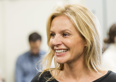 """Jessalyn Gilsig at the first rehearsal for the world premiere of """"Quack."""" Written by Eliza Clark and directed by Neel Keller, """"Quack"""" will play at Center Theatre Group's Kirk Douglas Theatre October 21 through November 18, 2018. For tickets and information, please visit CenterTheatreGroup.org or call (213) 628-2772. Media Contact: CTGMedia@CTGLA.org / (213) 972-7376. Photo by Craig Schwartz."""