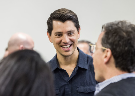 """Nicholas D'Agosto at the first rehearsal for the world premiere of """"Quack."""" Written by Eliza Clark and directed by Neel Keller, """"Quack"""" will play at Center Theatre Group's Kirk Douglas Theatre October 21 through November 18, 2018. For tickets and information, please visit CenterTheatreGroup.org or call (213) 628-2772. Media Contact: CTGMedia@CTGLA.org / (213) 972-7376. Photo by Craig Schwartz."""
